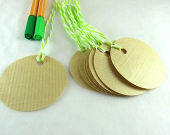 Gift tags, kraft paper tags, brown paper tags, wedding tags, round tags, thank you tags, recycled tags, kraft paper, upcycling, reuse, favor