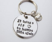 Teacher Gift Keyring with apple charm  It takes a big heart to inspire little minds  Aluminium Key Fob