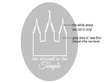 VINYL See yourself in the TEMPLE outline of SLC - vinyl sticker for mirror