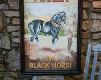 Authentic Antique Tetley Heritage 'The Black Horse' English Pub Sign