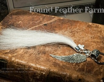 Horsehair Key Ring with Pewter Silver Wing and Crystal Jeweled Charm