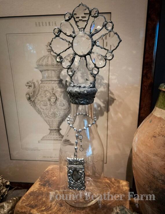 Handmade Glass Cross Bottle with a Century Old 1985 Antique Milk Bottle Base