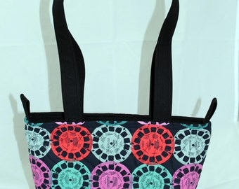 Handmade Quilted Tote Bag, Purse/Bag with zipper closure, Retro View Master fabric