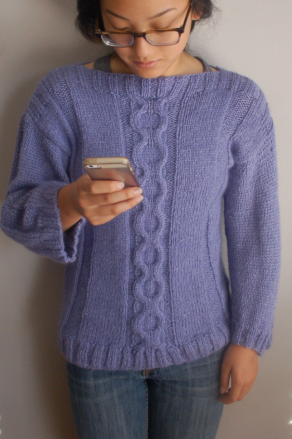 Sweater Knit : Cable sweater knitting pattern easy to knit pullover