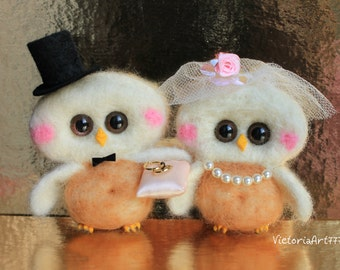 Wedding cake topper owls