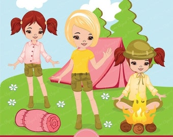 80% OFF SALE Camping girl clipart for scrapbooking, Camping party, Camping, digital clipart, commercial use, CA129
