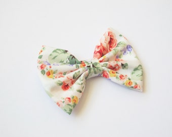 Floral Hairbow | Little Girl Hair Bow | White Bow with Flowers | Bow