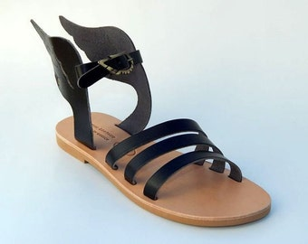 Greek Leather Sandals ( Crete) (35 - Black)