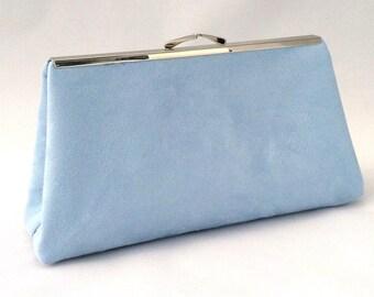 Blue Suede Handbag ~ Light Blue Suede Purse ~ Blue Suede Evening Handbag