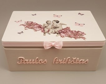 Personalized Baby Keepsake and Memory Box, Decoupage Box, Christening Box, Baptism Box, Wooden Box, Gift for Baby Girl, Butterfly, Angels