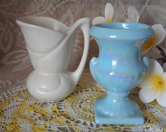 Vintage Vases ~ Set of Two ~  Blue Lustreware & Satin White