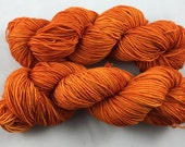 hand dyed sock yarn, fingering weight, superwash merino and nylon, colorway SAFFRON