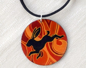The Hare Runs Through the Fire - Hand Painted Pendant