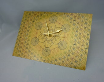 Metatrons Cube Within the FLOWER of LIFE Wall Clock, Sacred Geometry on Brushed Gold Metal - Silent Non-tick with Glide Motion Mechanism