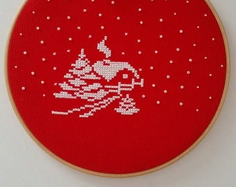 Cross stitch hoop, Hoop art, Winter hoop, Valentine' s Day gift, Winter decoration, Wall hanging, Home decor, Ornament, Christmas ornament,