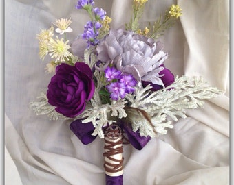 Purple lavander bouquet, stempunk, grey, wild flower bouquet, Wedding bouquet.