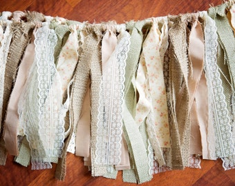BURLAP AND LACE Rag Tie Garland Banner,Photo Prop,Wedding Prop,Rustic Garland,Barn Wedding,Vintage Garland,Shabby Chic,Natural andSageBurlap