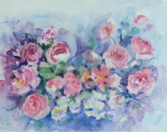 Beautiful Roses, Watercolor Original painting on Canson Paper (Title: Roses)
