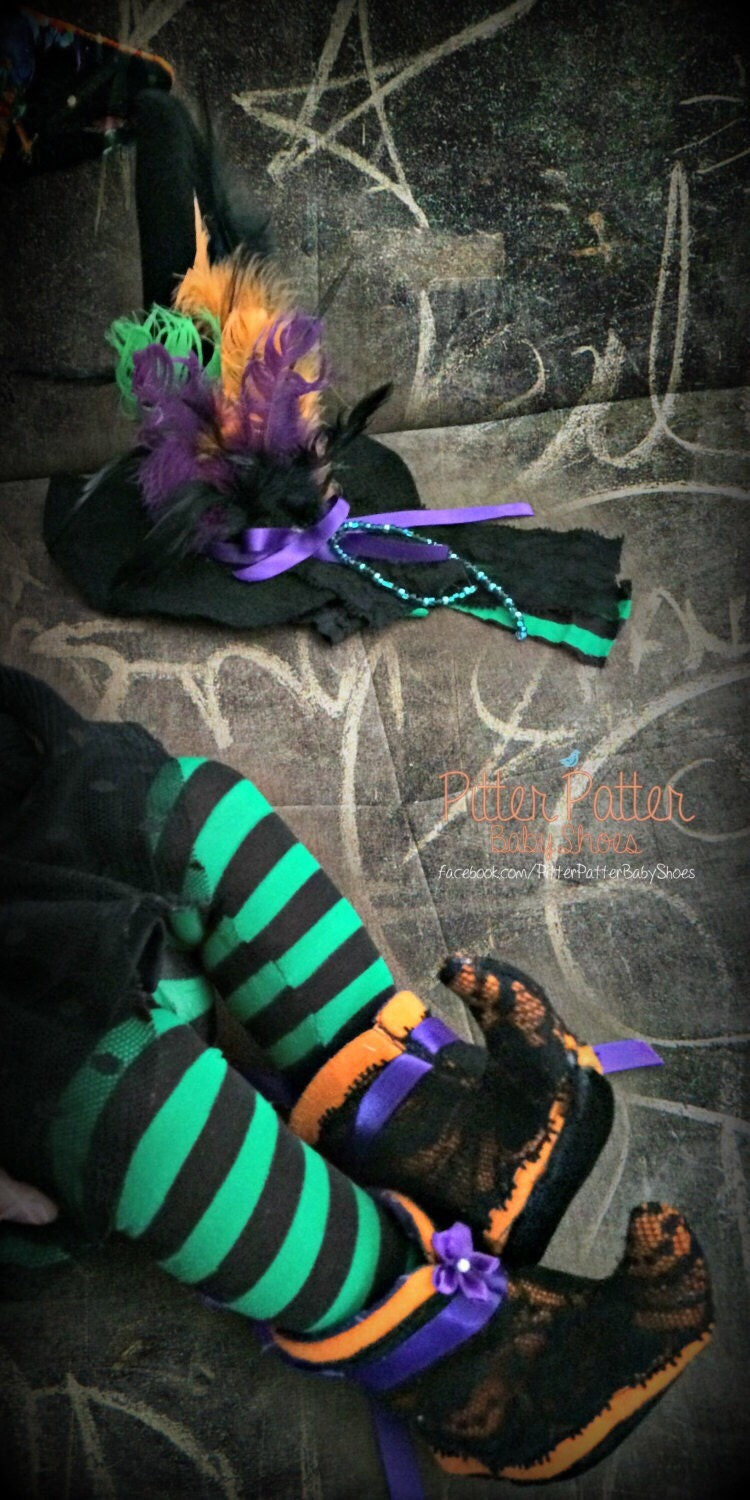 Witches Night Out - Infant Witch Booties - Baby Soft Shoes ...
