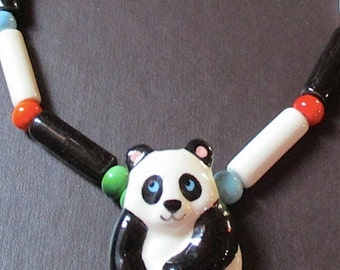 Vintage Flying Colors Ceramic Porcelain Painted Panda Necklace