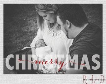 Merry Christmas Holiday Card With Photo Digital Printable File
