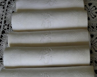 French Vintage Napkins Linen and Silk Damask. Superb Set of Six with monogram MF.