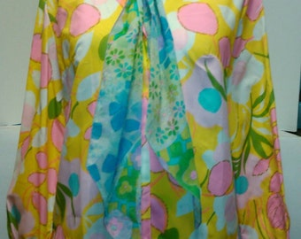 1960's Neon Psychedelic Blouse & Scarf