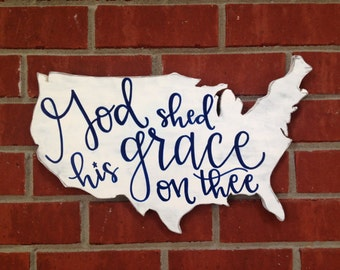 Fourth of July Decor,Patriotic Decor,Military Gift,4th of July,Wood Sign,Rustic Home Decor,USA Map,America the Beautiful,USA,Wooden Sign