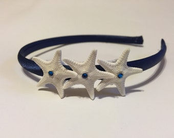 Satin starfish headband with Swarovski crystals