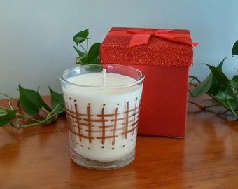 Green Tea & Lemongrass Pure Soy Candle 11 oz. Hand Painted Glass Tumbler Orla Soy Candle Rhode Island