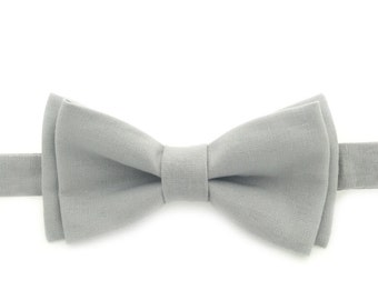 Gray Bow Tie, Pre tied Bow Tie, Adjustable Bow Tie, Mens Bow Tie, Bow Ties for Men, Bow Ties for Boys, Handmade Bow Ties