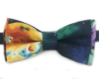 Galaxy Print Bow Tie, Self Tie Bow Tie, Pre-tied Bow Tie, Galaxy Print Pocket Square also Available