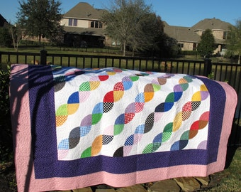 "Polka Dot Rope Homemade Quilt 98"" x 98"" Queen/King Size - Price Reduced!!"
