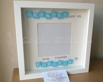 GRANDPA And Me, Best Friends Forever -Handmade Scrabble Photo Frame. Available in Black or white Frame and Wooden, Ivory, Blue or Pink tiles