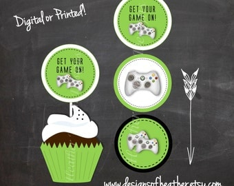Video Game Circles- Stickers, Tags, or Cupcake Toppers
