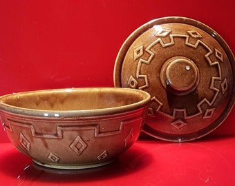 VTG Monmouth Pottery Brown Casserole Dish with Lid