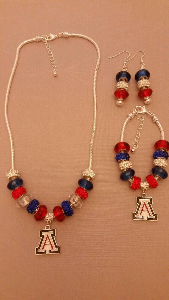 arizona wildcats jewelry set necklace bracelet earrings