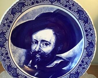 Large Delft Porcelain Blue White Charger Plate Portrait Ruben