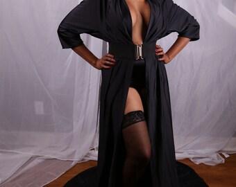 Black Floor Length Dressing Gown