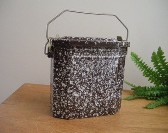 French vintage lunch box, lunch pail, canteen, brown enamelware, graniteware. 1950's