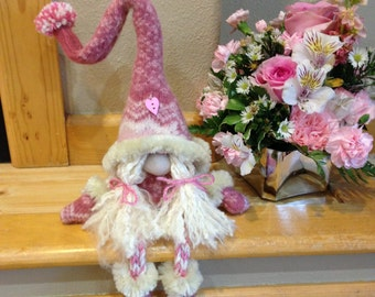 Pink Felted Valentine Girl Gnome