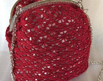 Crochet Bag, Handmade in Red