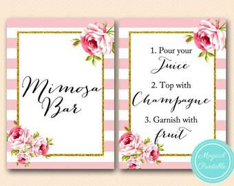 Gold Mimosa Bar sign, mimosa bar printable, wedding signage, Floral Chic Baby Shower signs, bridal Shower signage TLC50 BS11