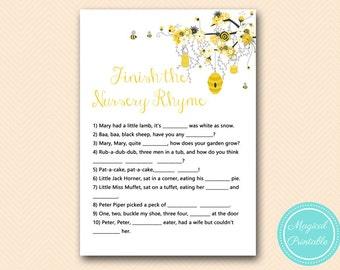 Finish the nursery rhyme game, Nursery rhyme quiz,  Bee Baby Shower Game, Gender Reveal, Baby Shower Activities TLC185 MB