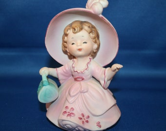 Vintage Josef Originals Girl Figurine in Pink Dress and Hat holding Blue Purse 1960's Josef Ceramic Figure
