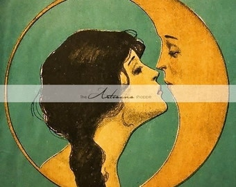 Kiss the Moon Vintage Girl Kissing Moon Image - Digital Download Printable Image - Paper Crafts Scrapbooking Altered Art - Man in the Moon