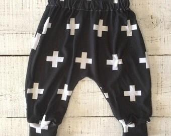 Heaven Sent handmade baby boy harem pant black white monochrome geometric cross crosses 00