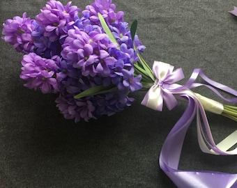 Purple Bouquet Hyacinth Flowers Romantic Bridal Bouquet Wedding Bridal Bouquet Lavender ivory silk ribbons bridesamids bouquet
