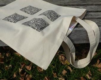 Wood Block Print Canvas Tote Bag