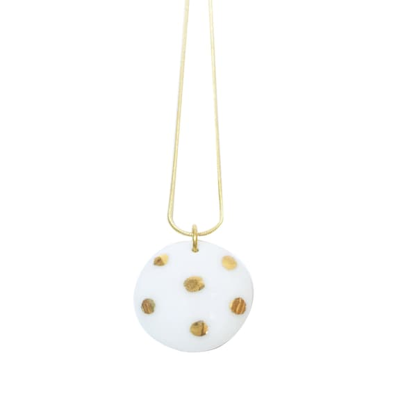 White necklace polka dots